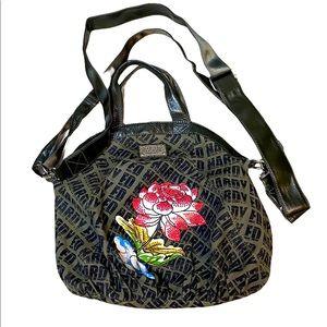 Ed hardy canvas bag with flower rhinestones